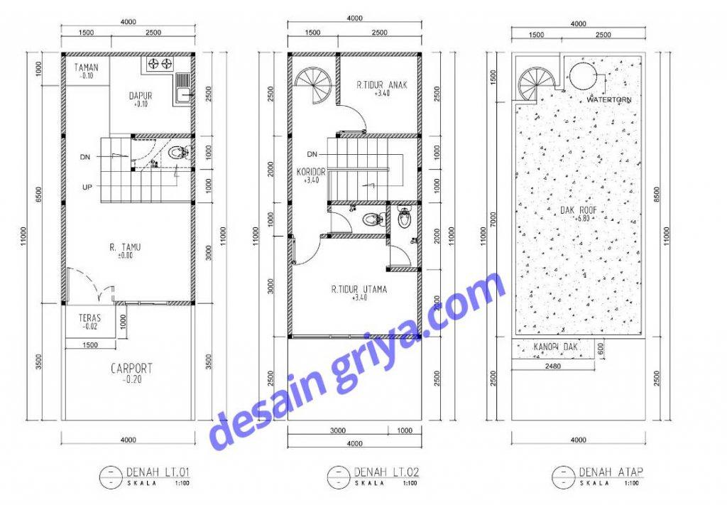 rumah lebar 4 meter di lahan 44 m2 pt desain griya