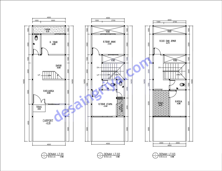 Contoh Denah Rumah Lebar 4 Meter  rumah lebar 4 meter panjang 14 meter pt desain griya