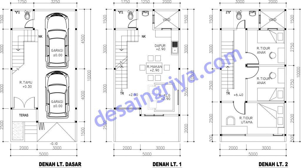 Desain Rumah Minimalis Lebar 5 Meter  rumah lebar 5 meter minimalis pt desain griya indonesia